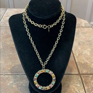 💐5/25 Sarah Coventry gold chain colorful circle